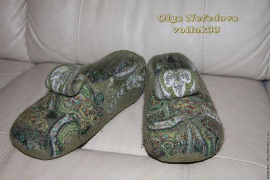 """Обувь ручной работы. Ярмарка Мастеров - ручная работа. Купить Авторские валяные тапочки """"Уютные"""". Handmade. Оливковый, тапочки"""