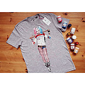 Одежда handmade. Livemaster - original item T-shirt with hand painted Harley Quinn. Handmade.