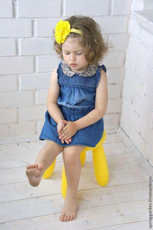 Детская бижутерия ручной работы. Ярмарка Мастеров - ручная работа. Купить Цветок-повязка ЛЕТО. Handmade. Желтый, джинс