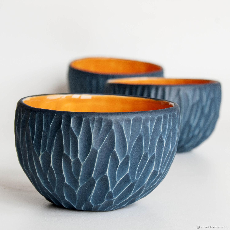 """Пиалы ручной работы. Ярмарка Мастеров - ручная работа. Купить Пиала """"Замшевая"""" синий апельсин. Handmade. Пиала, глина белая"""