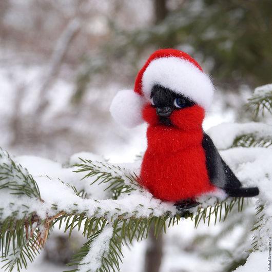 Новый год 2017 ручной работы. Ярмарка Мастеров - ручная работа. Купить Снегирь. Валяная интерьерная игрушка.. Handmade. Снегирь, красный