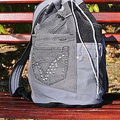 Сумки и аксессуары handmade. Livemaster - original item Backpack Pocket denim Gray. Handmade.