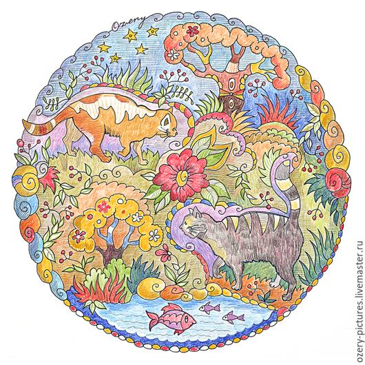 Животные ручной работы. Ярмарка Мастеров - ручная работа. Купить Мандала с кошками. Графика.. Handmade. Кошки, круглый, цветные карандаши