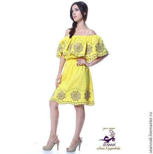 """Платья ручной работы. Ярмарка Мастеров - ручная работа. Купить Платье с вышивкой ришелье """"Солнечный фиолет"""" в любом цвете на заказ. Handmade."""