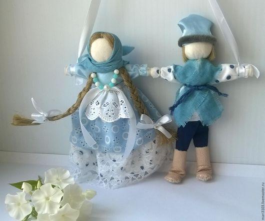 Народные куклы ручной работы. Ярмарка Мастеров - ручная работа. Купить Неразлучники Нежность. Handmade. Голубой цвет, свадебный подарок