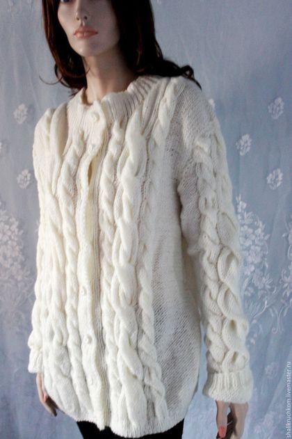 Верхняя одежда ручной работы. Большой размер вязаный женский кардиган Элегантный. Шали вязаные, свитера  FDesign. Ярмарка Мастеров.