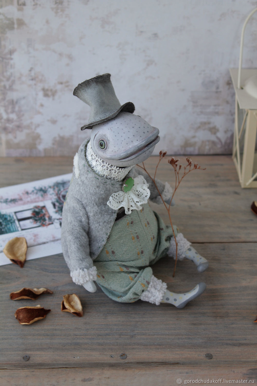 Animal Toys handmade. Livemaster - handmade. Buy Fish in coat. Art Doll creative.Dolls, interior doll, gentleman