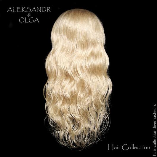 НАКЛАДКА затылочная - M - для Волос  на заколках - постиж - 40 см, натуральные волнистые волосы.