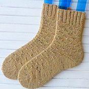 Аксессуары ручной работы. Ярмарка Мастеров - ручная работа Вязаные женские носки бежевые. Handmade.