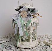 """Для дома и интерьера ручной работы. Ярмарка Мастеров - ручная работа Новогодний фонарь """"Шебби шик"""". Handmade."""