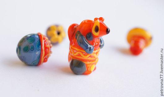 Для украшений ручной работы. Ярмарка Мастеров - ручная работа. Купить Бусина лэмпворк ручной работы Белка  НОСОК. Handmade.