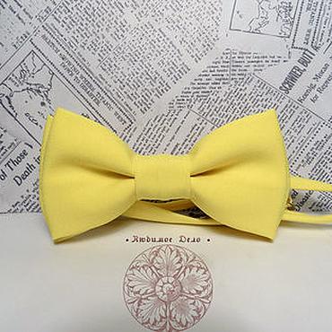Аксессуары ручной работы. Ярмарка Мастеров - ручная работа Галстук-бабочка Лимонная/ однотонная бабочка /классическая жёлтая. Handmade.