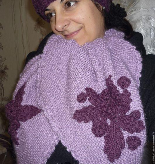 Береты ручной работы. Ярмарка Мастеров - ручная работа. Купить Беретка с шарфом. Handmade. Тёмно-фиолетовый, берет женский, беретка