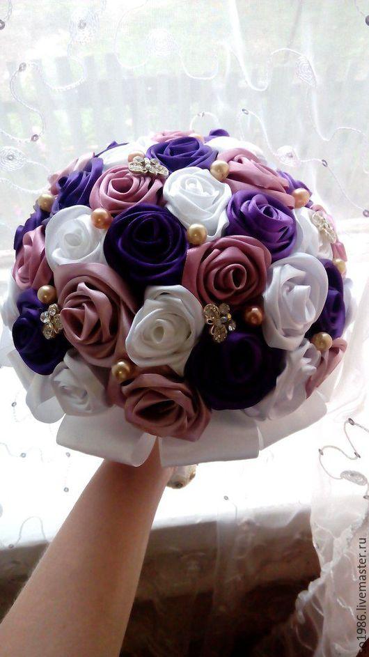 Свадебные цветы ручной работы. Ярмарка Мастеров - ручная работа. Купить Свадебные букеты. Handmade. Лента, тёмно-фиолетовый, стразы