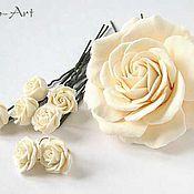 Свадебный салон ручной работы. Ярмарка Мастеров - ручная работа Свадебный комплект со светло-кремовыми розами. Handmade.