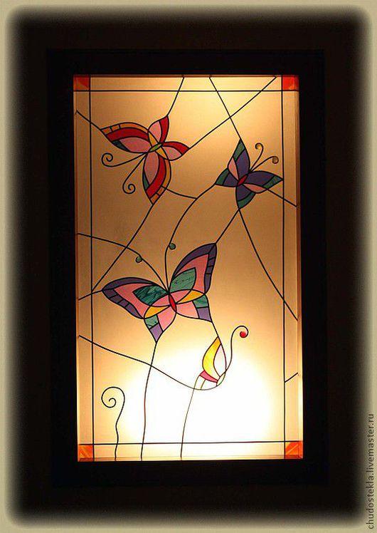 """Элементы интерьера ручной работы. Ярмарка Мастеров - ручная работа. Купить Витраж """"Бабочки"""". Handmade. Витраж, бабочки, свинцовая лента"""