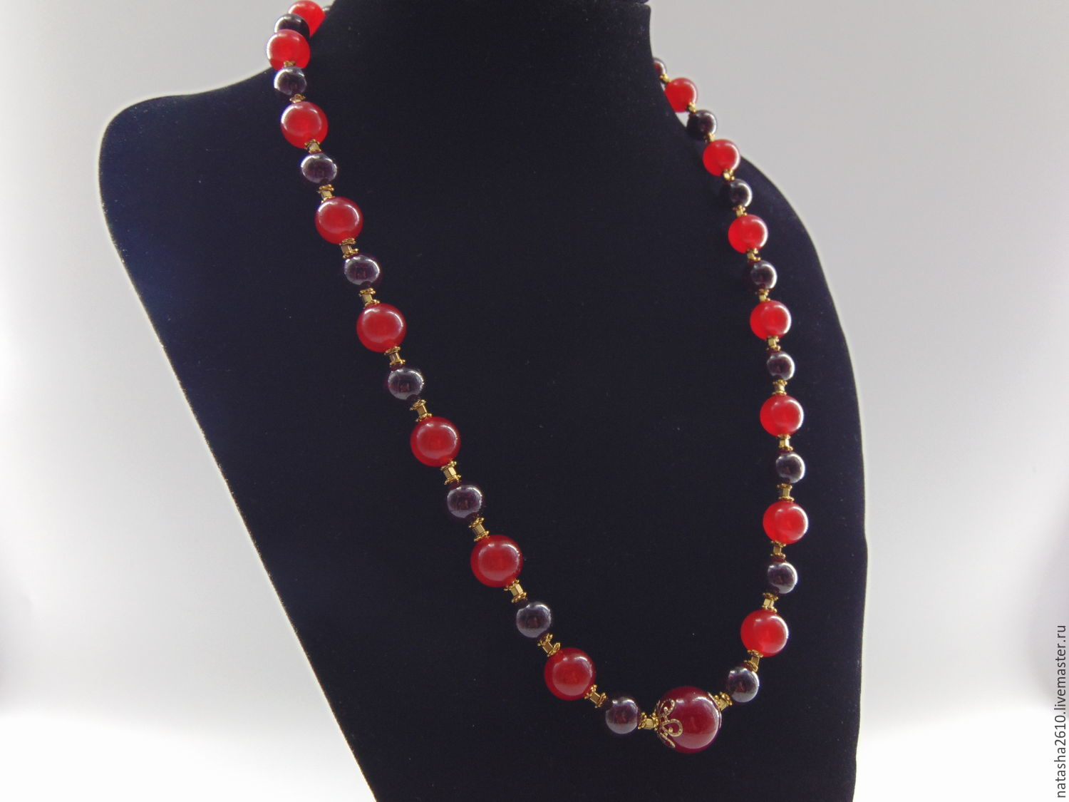 Necklace made of natural stones garnet and carnelian 'Berries', Necklace, Velikiy Novgorod,  Фото №1
