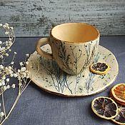 """Посуда ручной работы. Ярмарка Мастеров - ручная работа Чайная пара """"голубые травы"""". Handmade."""
