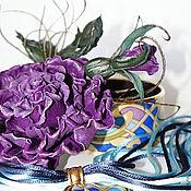 """Заколки ручной работы. Ярмарка Мастеров - ручная работа Брошь из кожи""""А мне все фиолетово"""". Handmade."""