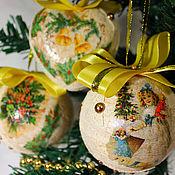 Christmas decorations handmade. Livemaster - original item Christmas toys Vintage decoupage. Handmade.