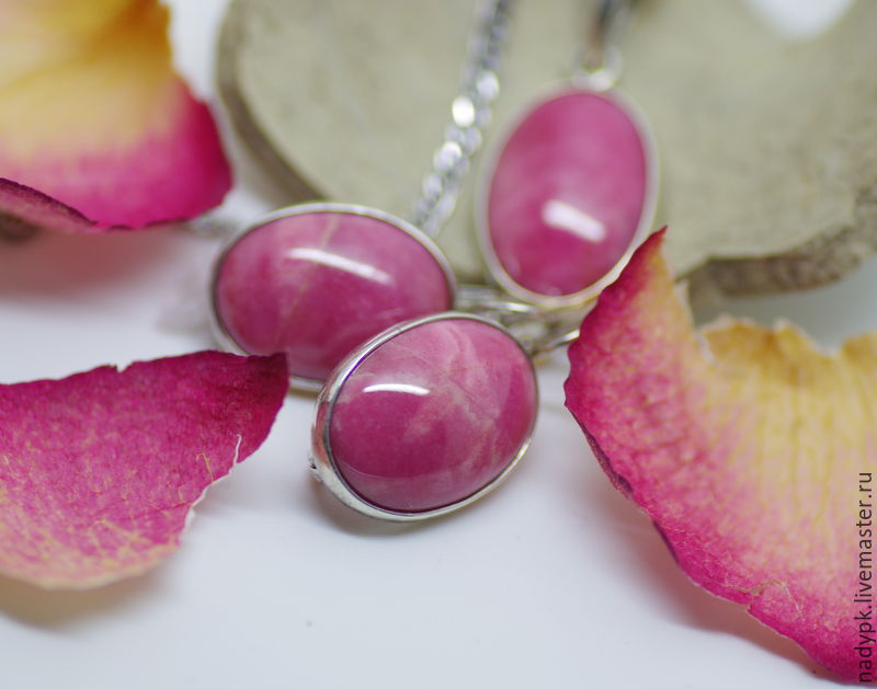 Set with rhodonite 'Delicate rose', silver, Jewelry Sets, Moscow,  Фото №1