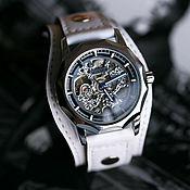 Украшения handmade. Livemaster - original item Bohemia white transparent mechanical wrist watch with leather strap. Handmade.