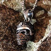 "Украшения handmade. Livemaster - original item Pendant ""Biker"" from silver 925 with a mask of jewelry brass. Handmade."