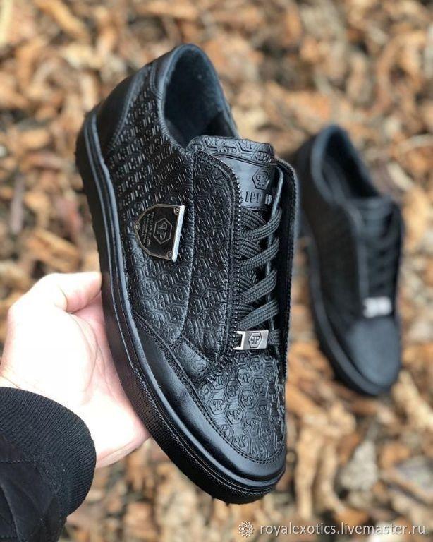Кроссовки из натуральной кожи, ручная работа, чёрный цвет
