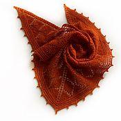 """Платки ручной работы. Ярмарка Мастеров - ручная работа Бактус из шерстяной пряжи """"Рыжая осень"""". Handmade."""