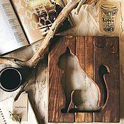 Картины и панно handmade. Livemaster - original item Panel wooden cat. Handmade.