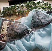 Одежда ручной работы. Ярмарка Мастеров - ручная работа Голубая сорочка с серым кружевным лифом. Handmade.