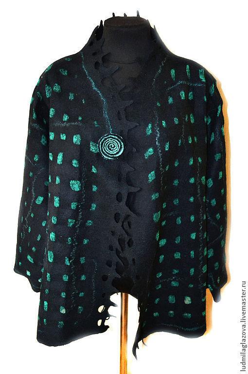 """Пиджаки, жакеты ручной работы. Ярмарка Мастеров - ручная работа. Купить Жакет двухсторонний """"Изумрудный"""". Handmade. Зеленый, жакет из шерсти"""