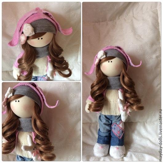 Куклы тыквоголовки ручной работы. Ярмарка Мастеров - ручная работа. Купить Интерьерная текстильная кукла Юленька. Handmade. Бледно-розовый