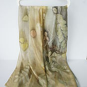 Аксессуары ручной работы. Ярмарка Мастеров - ручная работа шелковый шарф палантин Экопринт. Handmade.