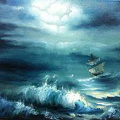 """Картины и панно ручной работы. Ярмарка Мастеров - ручная работа Авторская картина"""" в бушующем море"""". Handmade."""