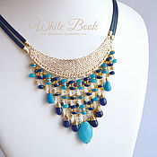 handmade. Livemaster - original item Necklace in Egyptian style, sapphire, quartz, gold plated. Handmade.