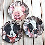 """Посуда ручной работы. Ярмарка Мастеров - ручная работа Набор настенных тарелок """"Веселая ферма"""", тарелка на стену декупаж. Handmade."""