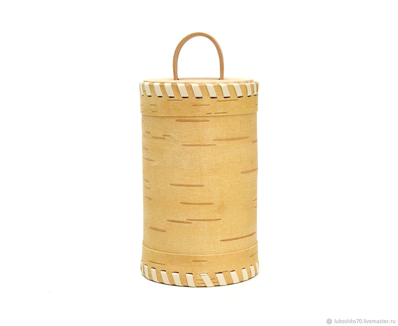 Pure birch bark tues D8 H14. Bank for tea, salt, sugar, cereals, Utensils, Tomsk,  Фото №1