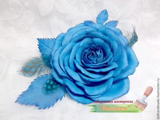 """Броши ручной работы. Ярмарка Мастеров - ручная работа. Купить брошь """"Голубая роза"""". Handmade. Голубой, фоамиран, проволока"""
