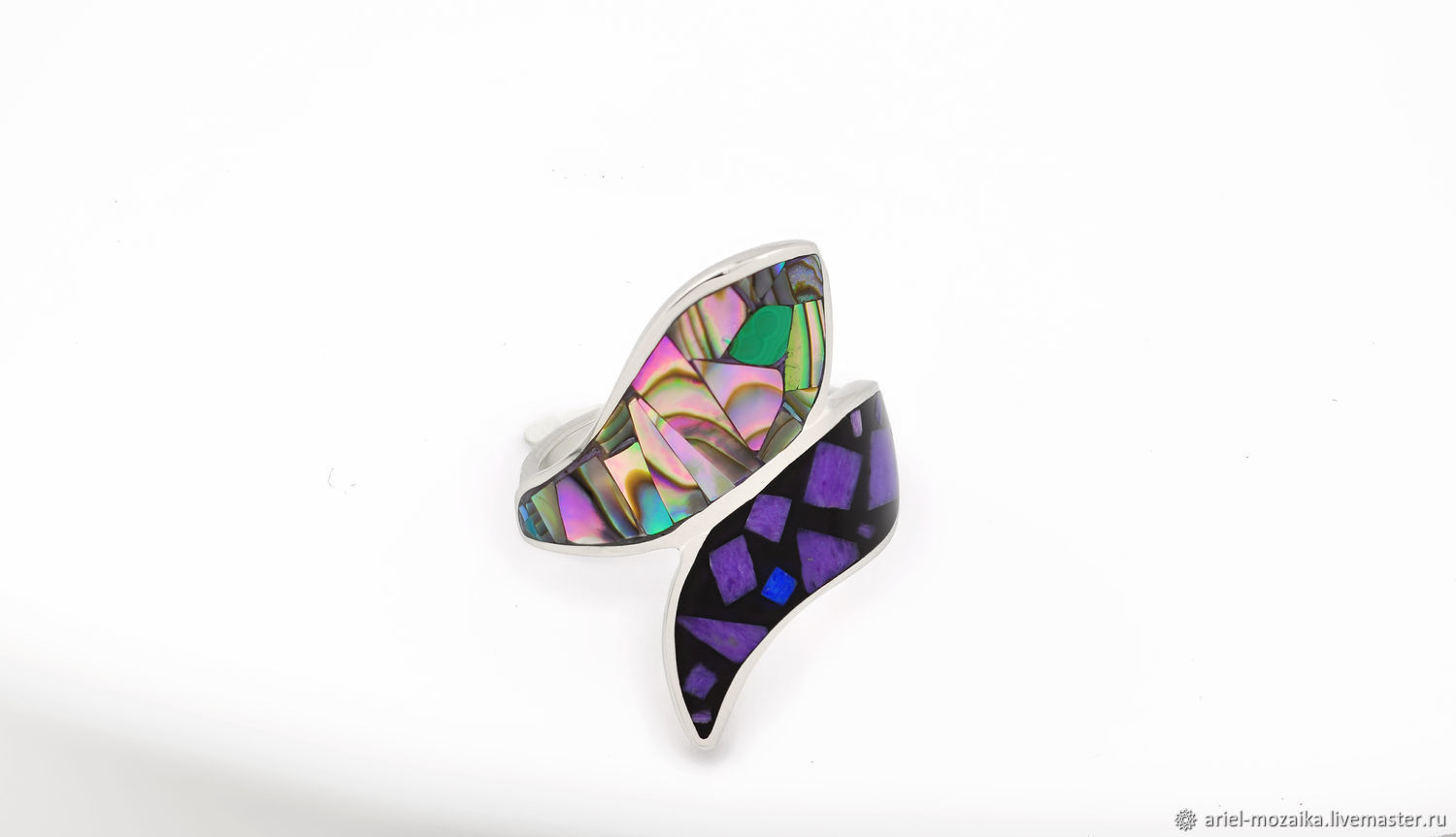 Ring snake. Charoite, Mother Of Pearl, Malachite. Size 17.Natural stone, Rings, Moscow,  Фото №1