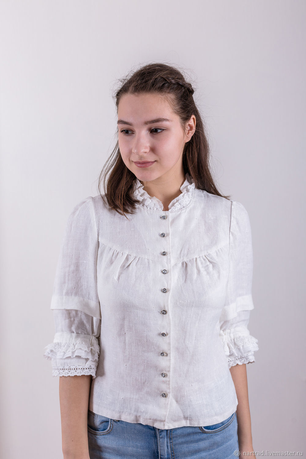 White linen blouse with buttons, Blouses, Anapa, Фото №1