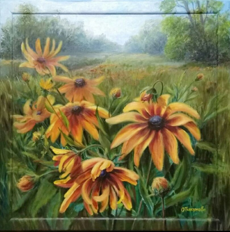 """Oil painting """"Yellow rudbeckia """", flowers, Pictures, Ozery,  Фото №1"""