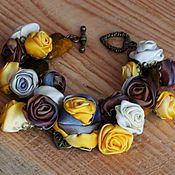 Украшения handmade. Livemaster - original item sunny evening. bracelet. fabric flowers. Handmade.