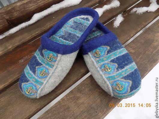 """Обувь ручной работы. Ярмарка Мастеров - ручная работа. Купить тапочки """"Морские"""". Handmade. Комбинированный, оригинальный подарок, шерстяной лоскут"""