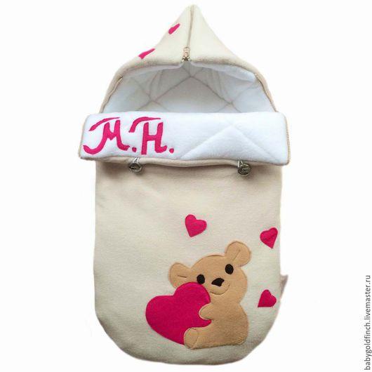 Для новорожденных, ручной работы. Ярмарка Мастеров - ручная работа. Купить Именной конверт на выписку для новорожденного с мишкой. Handmade. Именной