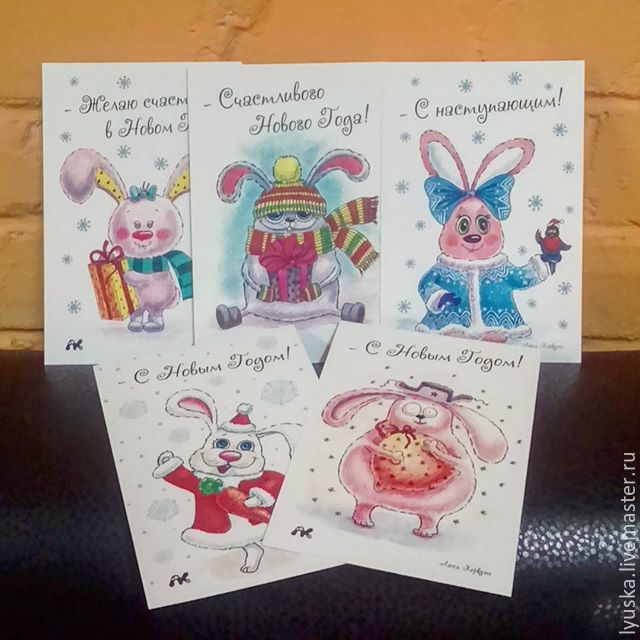 a series of author\'s new year cards with hares – shop online on ...