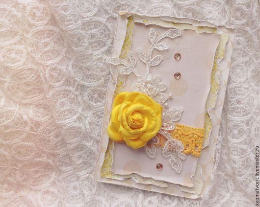 Открытки на все случаи жизни ручной работы. Ярмарка Мастеров - ручная работа. Купить Открытка с розой. Handmade. Желтый, ярко-желтый