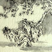 Картины и панно ручной работы. Ярмарка Мастеров - ручная работа картина..И гора вдалеке(китайская живопись графика сосна пейзаж дерево. Handmade.