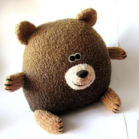 Текстиль, ковры ручной работы. Ярмарка Мастеров - ручная работа. Купить Подушка-Медведь. Handmade. Вязаная игрушка, коричневый