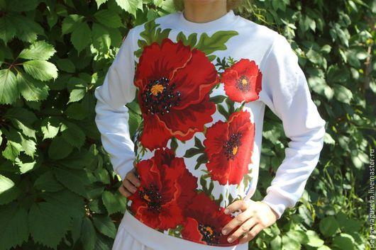 """Спортивная одежда ручной работы. Ярмарка Мастеров - ручная работа. Купить Свитшот """"Маки на белом"""". Handmade. Принт, дизайнерская одежда"""